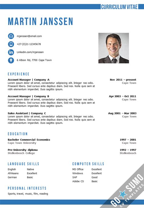 Microsoft Word Cv Template by Cv Template Cape Town