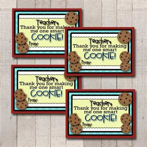 printable gift tags for cookies teacher appreciation one smart cookie teacher