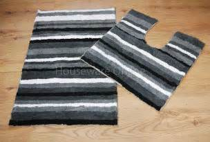 Striped Bathroom Mat Sets 100 Cotton 2pc Black White Grey Stripe Padestal