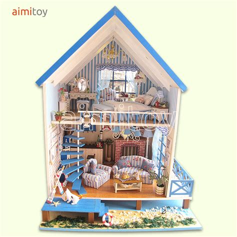 beach doll house 200037 wooden doll house big blue beach villa aegen sea model b all furnitures