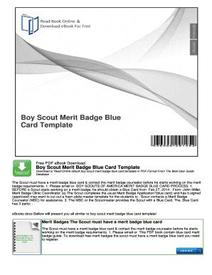 Merit Badge Card Printer Template by Fillable Boy Scout Merit Badge Blue Card Template
