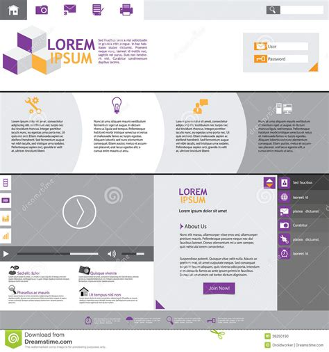 eps format web flat web design elements templates for website stock
