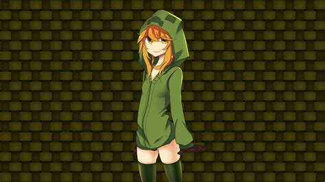 minecraft anime girl wallpaper creeper girl computer wallpapers desktop backgrounds