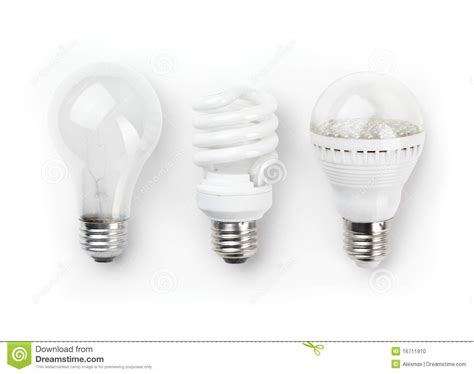 Led Fluorescent And Incandescent Light Bulbs Stock Photo Led Fluorescent Light Bulbs