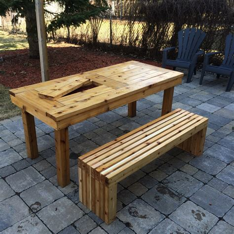 Patio Table Plans Diy White Diy Patio Table Bench Diy Projects