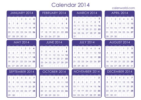 Calendar Printable 2014 Calendar 2014 Only Printable Yearly Calendar Template 2016