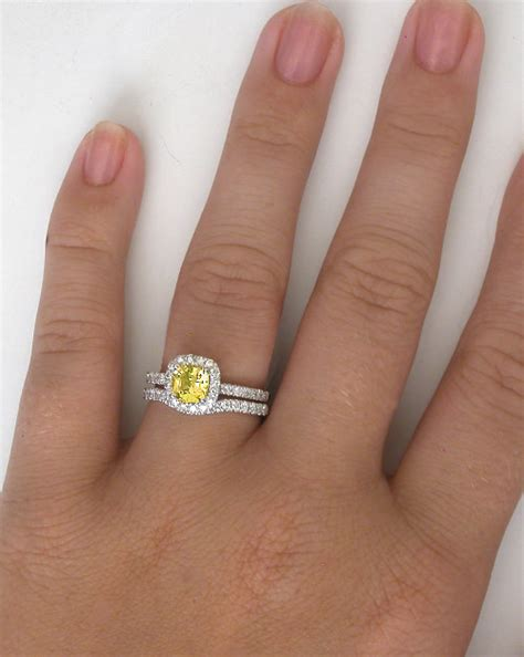 cushion cut yellow sapphire ring halo engagement ring with cushion cut yellow