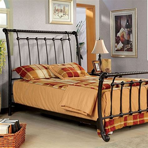 Vintage Style Bed Frames Loures Contemporary Vintage Style Brushed Bronze Finish Size Bed Frame Set