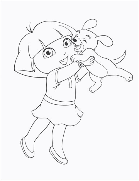Dora Puppy Coloring Page | dora the explorer coloring pages dora and her puppy series