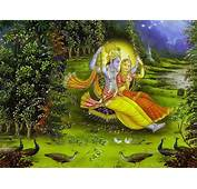 Radha Krishna And Peacocks Hindoo Painting In Oil For Sale