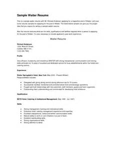 Waiter Objective Resume by Sle Resume Recommendation Letter Waiter Cover Letter Templates