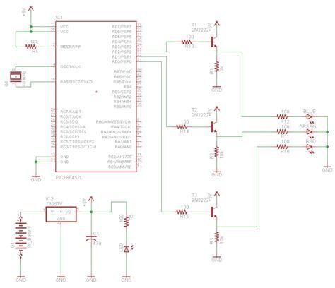 rgb led circuit diagram rgb led controller using pic18f452