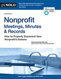 501c3 Records Nonprofit Meetings Minutes Records Book Nolo