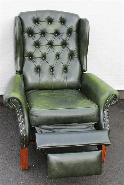 green leather recliners antiques atlas green leather wing back recliner armchair