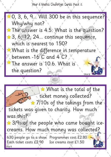 year 6 maths challenge cards s pet activities 187 year 6 maths challenge