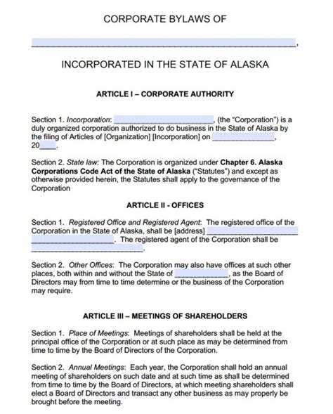 free alaska corporate bylaws template pdf word