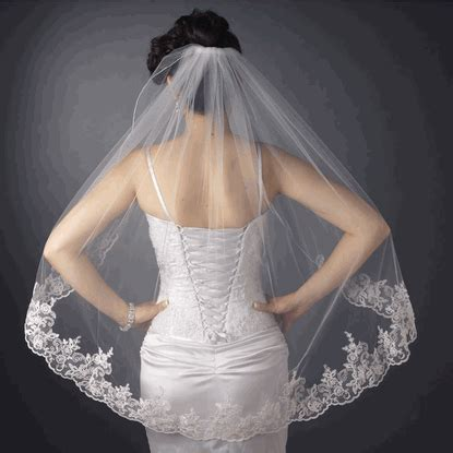 Floral Wedding Veil scalloped floral embroidered lace edge wedding veil