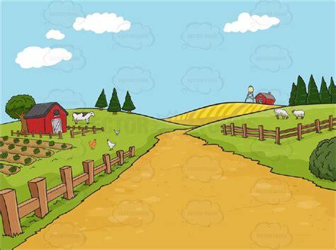 country farm background cartoon clipart vector toons