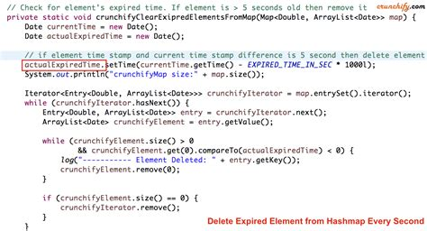 how to remove expired elements from hashmap and add more