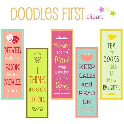 printable bookmark ideas reading quotes bookmarks digital clip art for scrapbooking