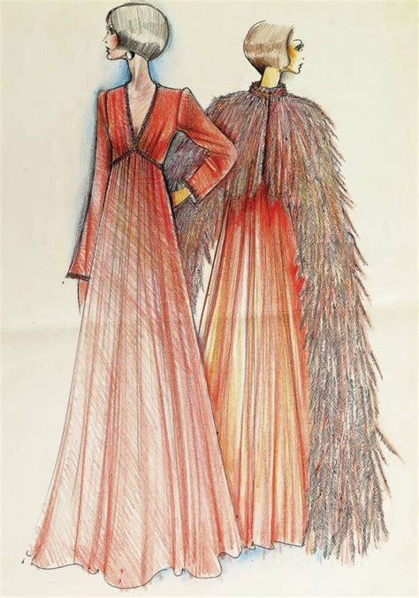 Karl Lagerfeld Original an original karl lagerfeld sketch of a tiziani coral gown
