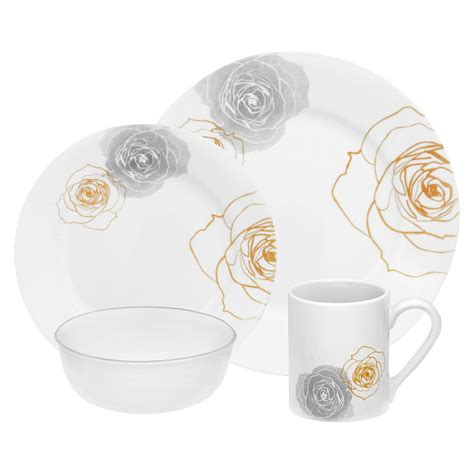 corelle rose pattern corelle 16 piece soleil rose dinnerware set