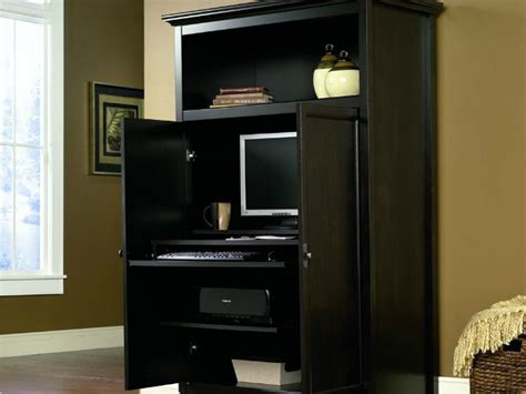 Concealed Computer Desk Space Saving Computer Armoire With Concealed Work Desk Getdatgadget