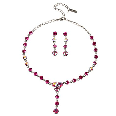 pink necklace swarovski pink necklace and earrings set