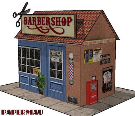 Papercraft Shops - barber shop for diorama free building paper model