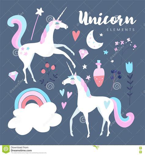 unicorn cloud fairytale elements unicorn with rainbow stars cloud