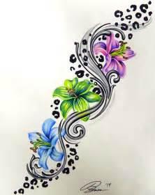 colorful leopard print flower tattoo design