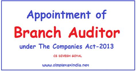 appointment letter to auditor companies act 2013 appointment of branch auditor the companies act 2013
