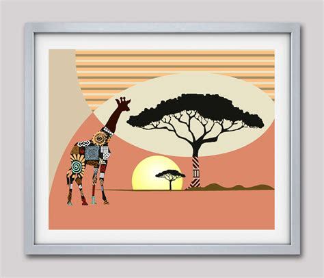 giraffe print home decor african safari decor giraffe print nature decor giraffe