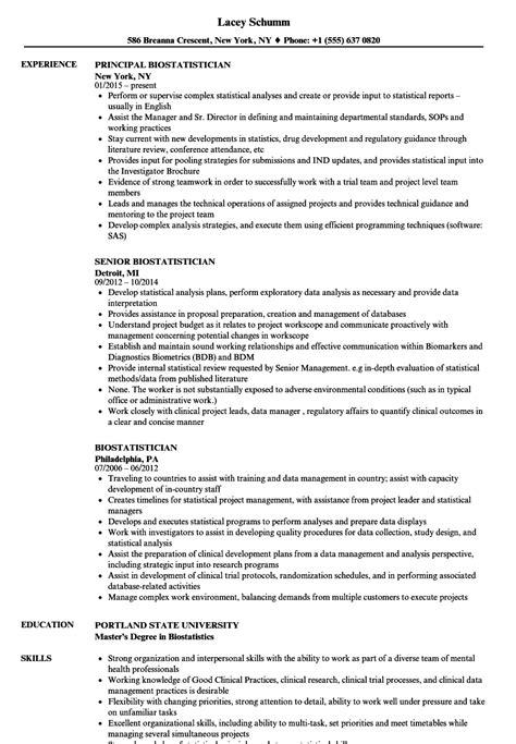 biostatistician resume sles velvet