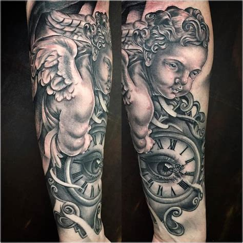 tattoo angel and clock realistic cherub angel with clock in black and gray