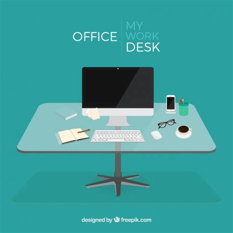 Free Office Desk Office Desk Vector Free