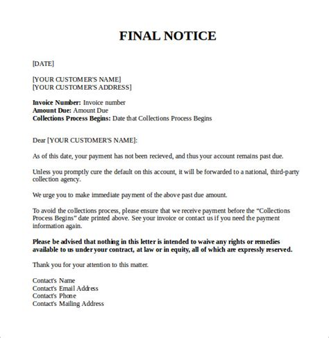 collections notice template notice letter 7 documents in pdf word