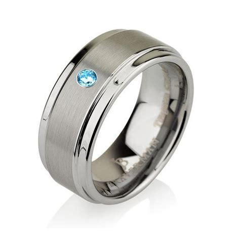 17 Best images about Aquamarine Tungsten Wedding Bands on