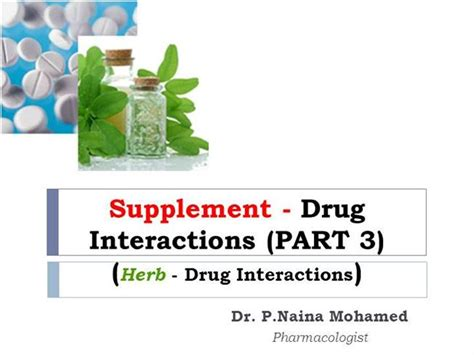 supplement interactions supplement drug interactions part 3 authorstream