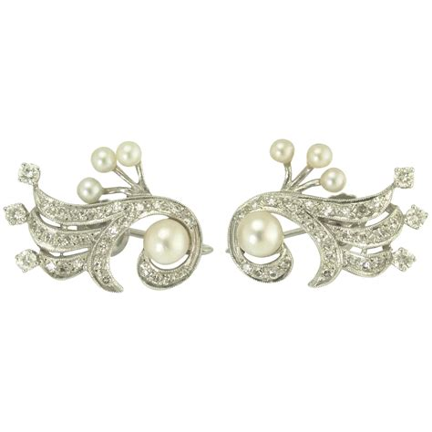 Adiamond Pearl Color Feather Earrings White vintage akoya pearl and 14k white gold earrings