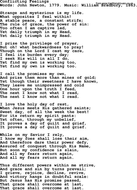 my lyrics newton conflicting feelings by newton christian hymn lyrics