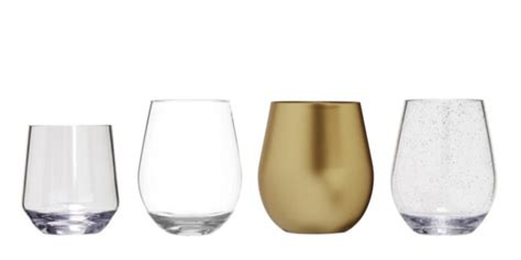 Plastic Wine Glasses Stemless Wine Glasses In Unbreakable Polycarbonate Or Bpa