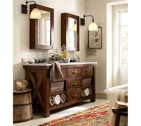 pottery barn bathroom sinks benchwright sink console rustic mahogany finish