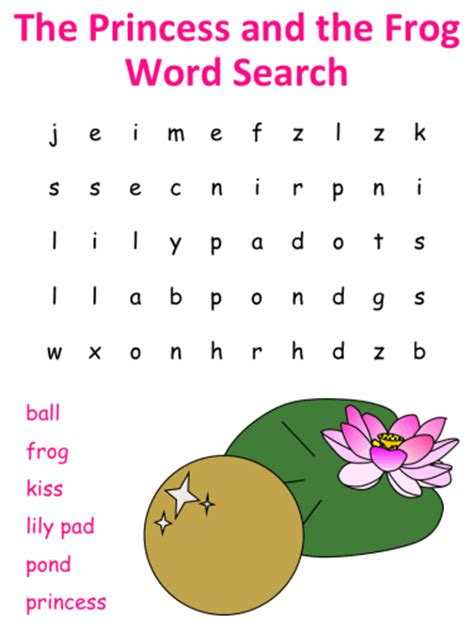 The Princess And The Frog Word Search Puzzles The Princess And The Frog Frog Printable