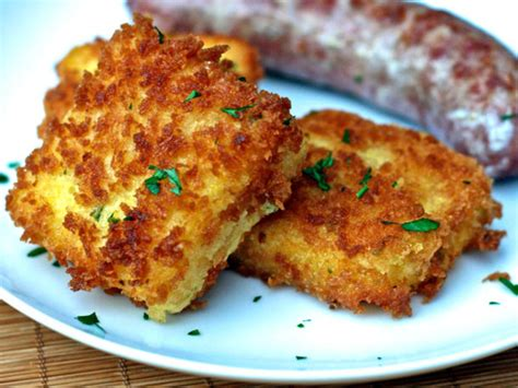 cheddar scallion polenta croquettes recipe dishmaps