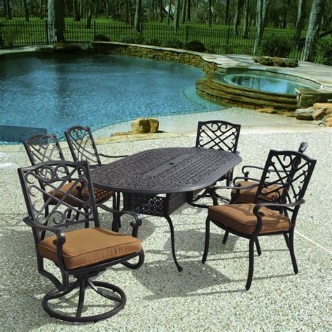 Veranda Classics Patio Furniture Rectangle Cast Aluminum Patio Dining Table For Six