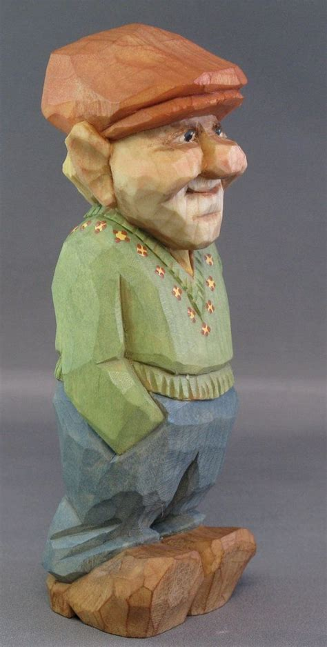 hand carved wood scandinavian caricature nordic wood