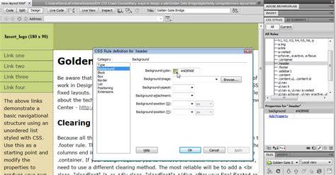design menu bar in dreamweaver dreamweaver spry menu bar background color