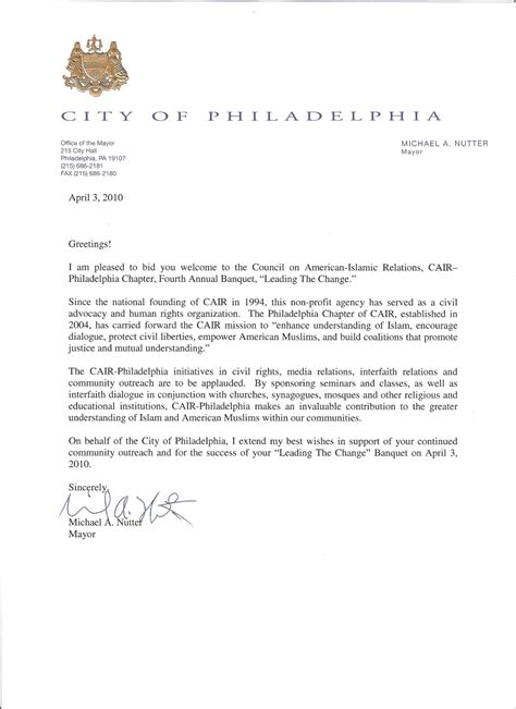 Letter For Mayor Testimonials And Proclamations Cair Philadelphia