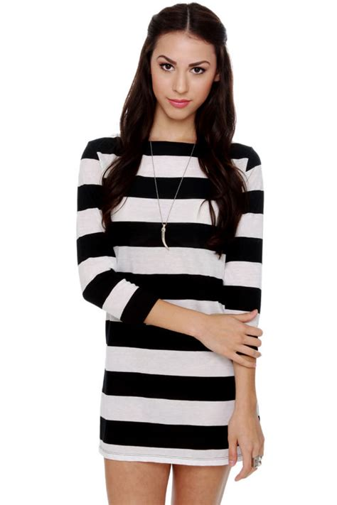 Dress Brenda Win cheap monday brenda top striped tunic black and white
